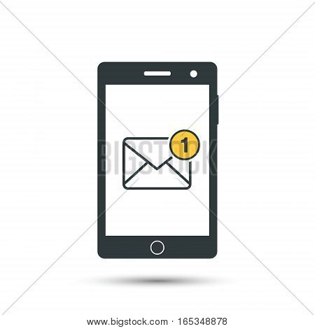 Receiving messages mail on mobile phone. Incoming SMS. Call. Hand holds telephone. New letter. Vector icon. Flat style.