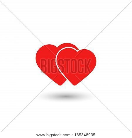 Two hearts icon vector isolated love red smbol.