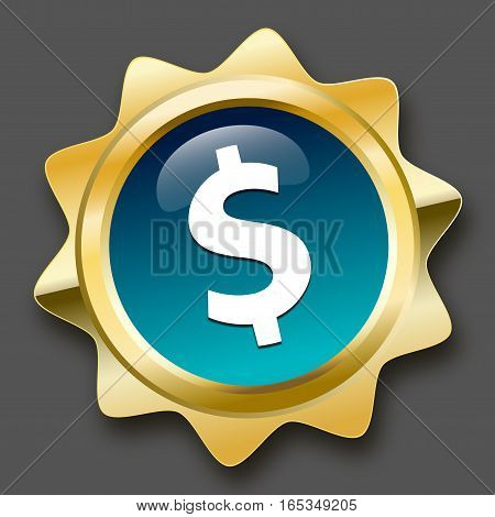 Profit seal or icon with Dollar symbol. Glossy golden seal or button.