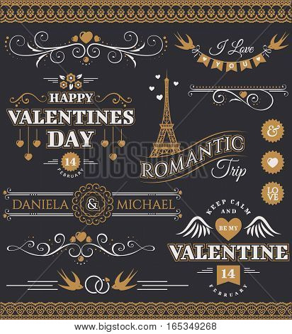 Set of love and romantic decorations isolated on black background. Collection of elegant elements for Valentine's Day and wedding design. Vector illustration.