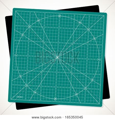 Rotated cutting mat for quilting patchwork and craft vector illustration