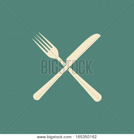 Knife and fork vector flat icon in milk and green colors