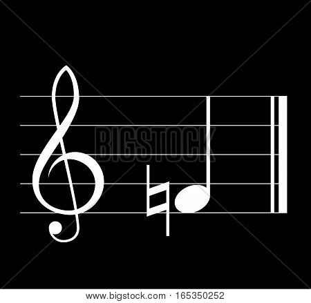 Natural musical symbol with note treble clef and staff on black