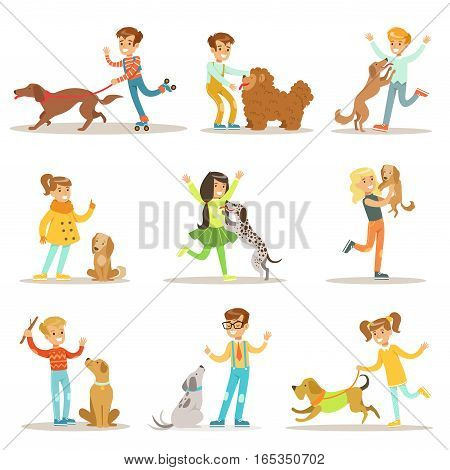 Children And Dogs Illustrations Set With Kids Playing And Taking Care Of Pet Animals. Happy Boys And Girls Cartoon Characters With Domesticated Animals Collection Of Drawings.