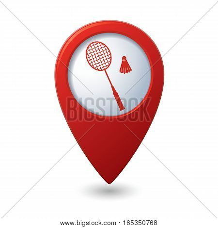 Red map pointer with badminton sign icon