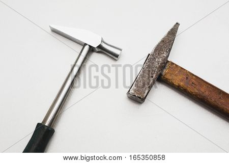 two different hammer on a white background