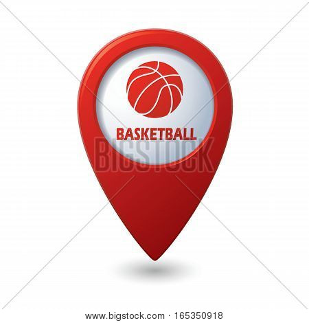Red map pointer with basketball sign icon