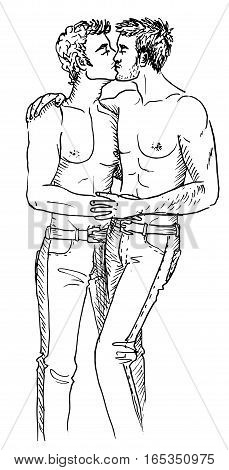 Two kissing gays. Hand-drawn illustration isolated on white