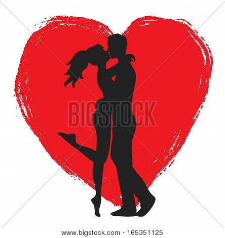 Kissing couple of young lovers and heart