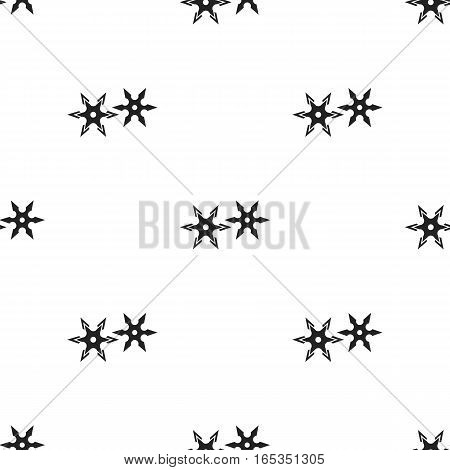 Metal shuriken icon in black style isolated on white background. Weapon pattern vector illustration.