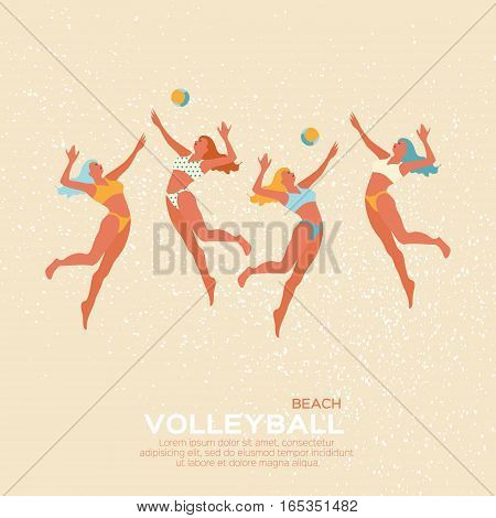 Beach Volleyball is popular sport game. Funny young woman with ball. Championship Volleyball net. Vector Illustration