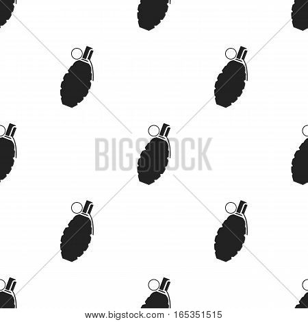 Grenade icon in black style isolated on white background. Weapon pattern vector illustration.