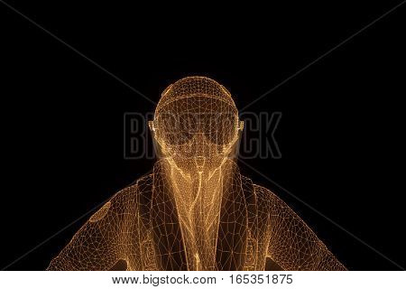Airplane pilot in Hologram Wireframe Style. Nice 3D Rendering
