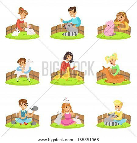 Children Petting The Small Animals In Petting Zoo Set Of Cartoon Illustrations With Kids Having Fun. Vector Colorful Scenes With Girls And Boys Touching Animal Cubs In Petting Farm.