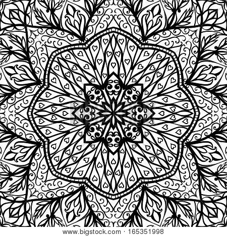 Oriental filigree pattern. Black and white background. Template for textile carpet wallpaper shawl.