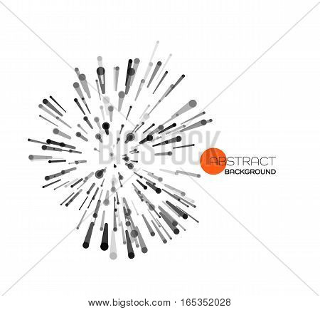 Vector abstract explosion lines. Technology and science background