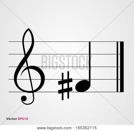 Sharp musical symbol with note treble clef and staff