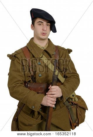 a french Mountain Infantry soldier during the Second World War on a white background