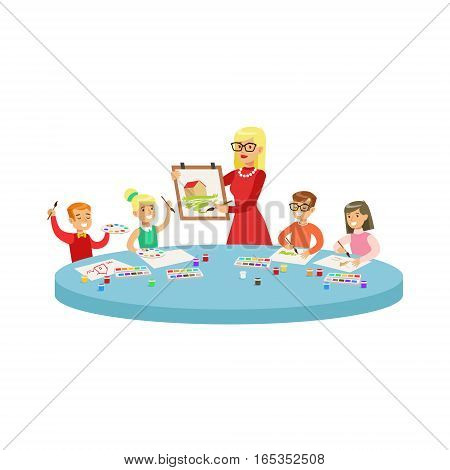 Four Children In Art Class Painting Cartoon Illustration With Elementary School Kids And Their Teacher In Creativity Lesson. Happy Schoolkids Drawing With Demonstration From Adult Woman.