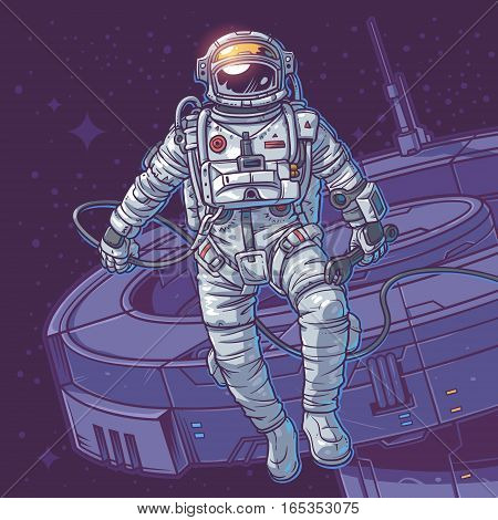 illustration cosmonaut on the cosmic background. Astronaut close to a space station