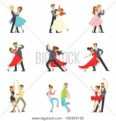 Professional Dancer Couple Dancing Tango, Waltz And Other Dances On Dancing Contest Dancefloor Set. Cartoon Characters Having Good time In Club Or On Championship Dance Off Vector Illustrations.