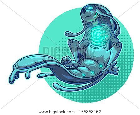 illustration of a cartoon monster water element.