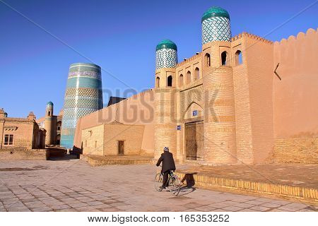 KHIVA, UZBEKISTAN: The Kunya Ark and the Kalta Minor Minaret in Khiva Old town