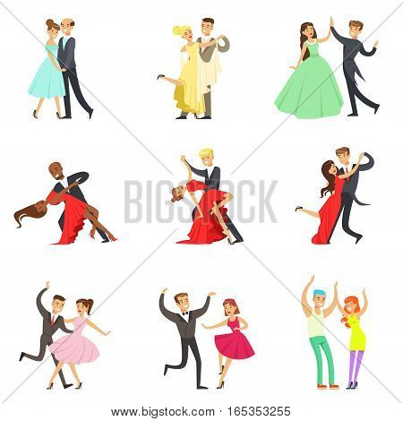 Professional Dancer Couple Dancing Tango, Waltz And Other Dances On Dancing Contest Dancefloor Collection. Cartoon Characters Having Good time In Club Or On Championship Dance Off Vector Illustrations.pionshi Dance Off Vector Illustrations.