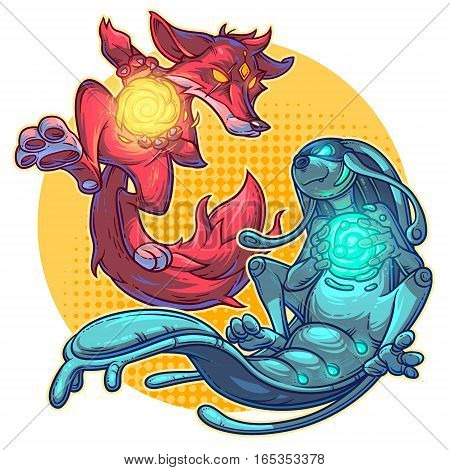 illustration of a cartoon fire fox and monster water element.