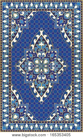 Oriental abstract ornament. Colorful template for carpet cover shawl textile and any surface. Ornamental blue pattern with filigree details.