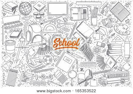 Hand drawn set of school doodles with orange lettering in vector