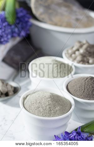 Ancient minerals - luxury face and body spa treatment clay powder and mask green blue and black clay