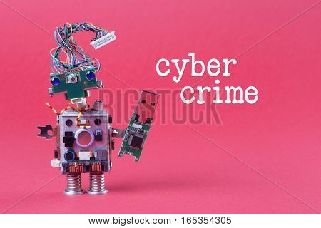 Cybercrime and data hacking concept. Retro robot with usb flash storage stick, stylish computer character blue eyed head, electrical wire hairstyle. Pink background photo