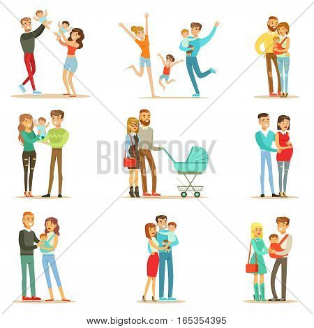 Young And Expecting Parents With Small Babies And Toddlers Serie Of Happy Full Family Portraits. Smiling Cartoon Characters, Mom, Dad And Infants Together Vector Illustrations.