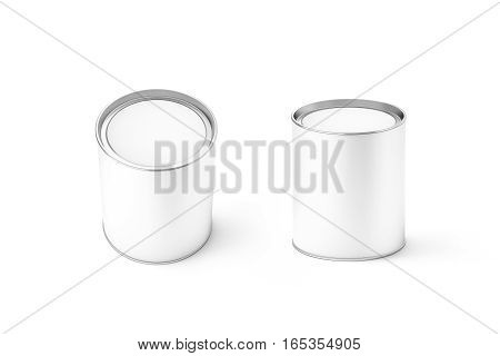 Blank white round can mockup set isolated 3d rendering. Clear cylindrical canned container with lid top view mock up. Conserved food packaging template. Tin cylinder preserved meal canister.