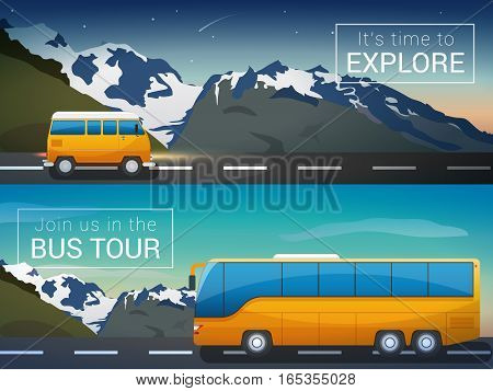 Vector travel banners set. Bus tour to Alps mountains, mini bus in the wild, the company travelers, time to explore