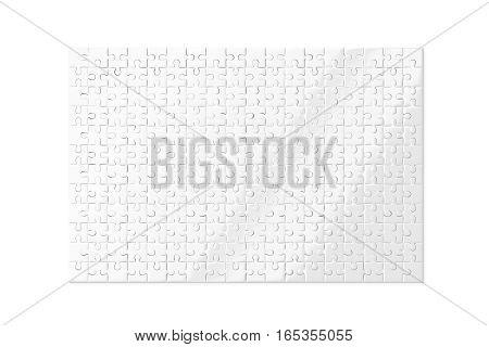 Blank white puzzles game mockup isolated 3d rendering. Clear jigsaw pieces connected together design mock up. Big board toy template.