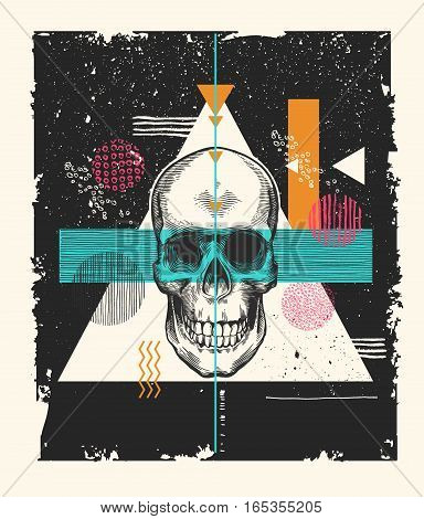 Human skull drawn in etching style surrounded by multicolored geometric shapes of different textures on black scratched and shabby background. Grunge vector illustration for banner, poster, print.