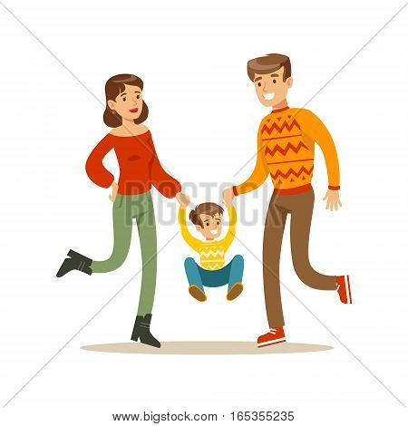 Parents Holding Hands With Kid, Happy Family Having Good Time Together Illustration. Household Members Enjoying Spending Time Together Vector Cartoon Drawing.