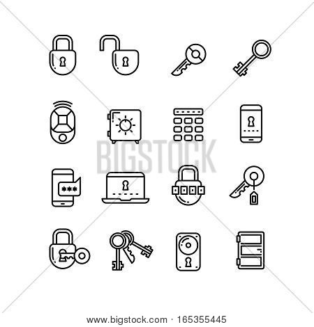 Key, lock, padlock, safe, door, security thin line vector icons. Collection of linear security icons, illustration of lock and code for security