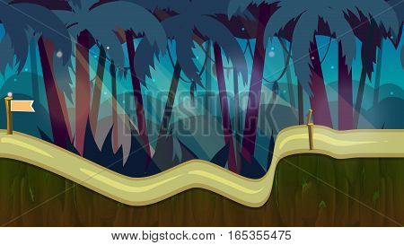 cartoon jungle landscape vector unending background with separated layers for game. 2d game application. Illustration for your application project.