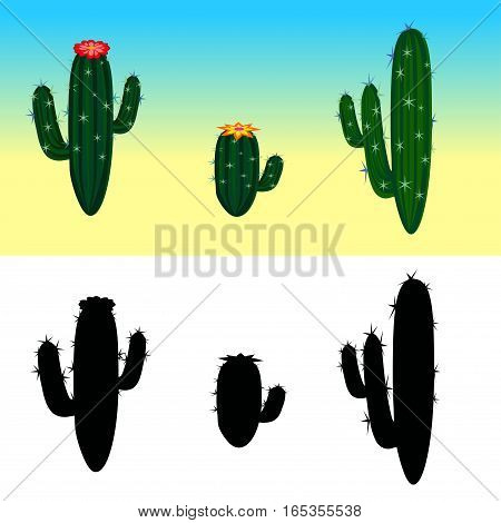 A vector cartoon cactus set with flowers and cactus silhouettes. Vector illustration. Isolated cactuses.