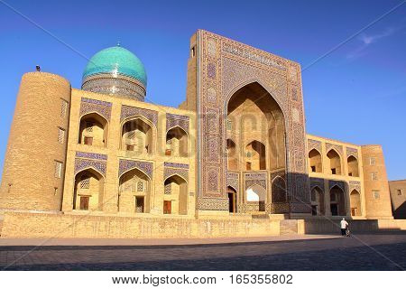 BUKHARA, UZBEKISTAN: The Mir-i Arab Madrasa with beautiful architecture