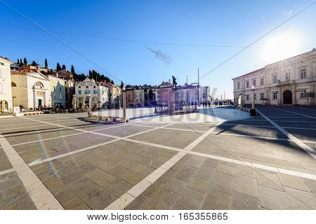 Tartini Square With Town Hall And City Library In Piran.