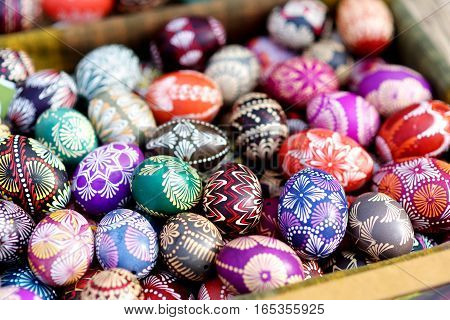 Colorful Easter Eggs Sold In Annual Traditional Crafts Fair In Vilnius