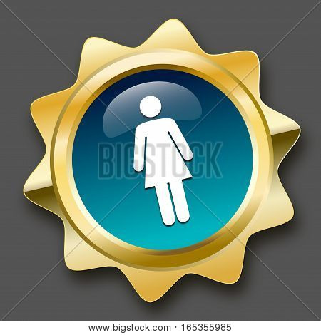 Restroom seal or icon with female symbol. Glossy golden seal or button.