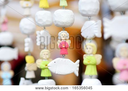 Cute Colorful Ceramic Angels Sold On Easter Market In Vilnius, Lithuania