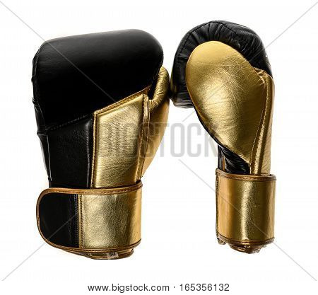 Golden And Black Leather Leather Boxing Gloves Isolated On White Background.