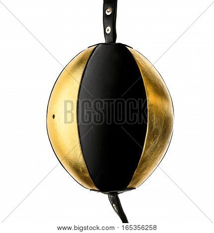Gold And Black Leather Boxing Double Bag Isloated On White.