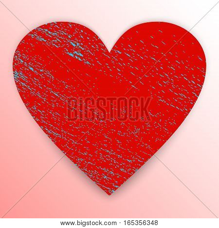 Heart. Grunge red shape isolated on pink background with blue scratches and shadow. Textured sign of Valentine's Day. Vector illustration. Clip art.